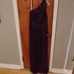 One shoulder strap bridesmaid dress in plum